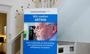 A doctor's recruitment poster at Levenseindekliniek, and end of life clinic in The Hague.