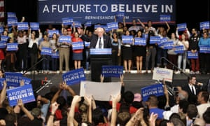 Bernie Sanders speaks during a campaign rally as his supporters cheer him on Tuesday.
