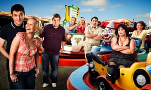 Gavin and Stacey (left to right): Mat Horne, Joanna Paige, James Corden, Larry Lamb, Alison Steadman, Rob Brydon, Ruth Jones and Melanie Walters.=