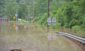 High water in Elkview, West Virginia, when the state saw rainfall of 25cm on 24 June 2016.