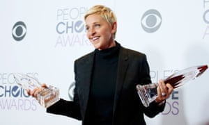 Ellen DeGeneres poses with her awards during the People's Choice Awards 2016.