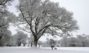 A man walks a dog in the snowy grounds of Braco Castle, Perthshire, on Thursday morning.