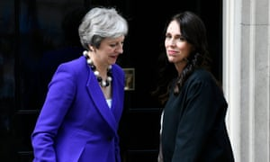 Theresa May (left) welcoming New Zealand's prime minister Jacinda Ardern in Downing Street today.