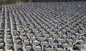 Around 1,700 students take an outdoor exam In Yan'an, China.