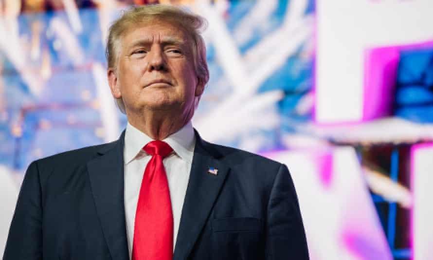 Donald Trump appears in Phoenix, Arizona.