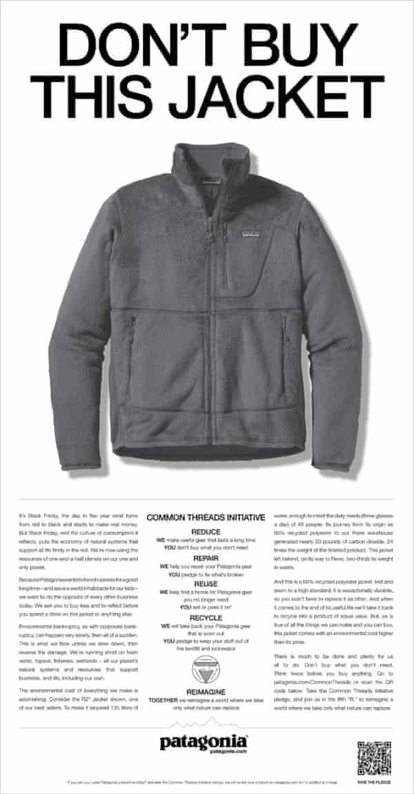Patagonia's Don't Buy This Jacket advert.