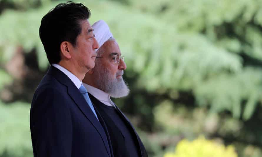 Shinzo Abe with Iran's president, Hassan Rouhani, in Tehran, Iran, on 12 June.