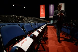 Seats reserved for Jeremy Corbyn supporters at the ACC Liverpool.