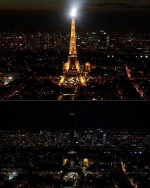 The Eiffel Tower, illuminated (top), in Paris and switched-off (bottom).