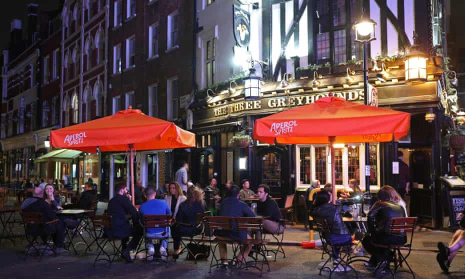 Late-night drinkers  in Soho, London