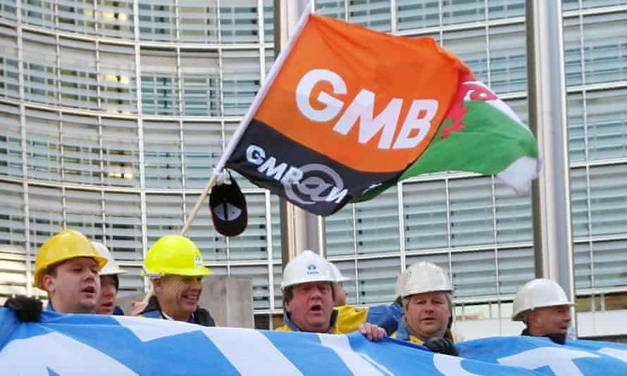 GMB protesters in Brussels on Monday call for EU action to help the steel industry.