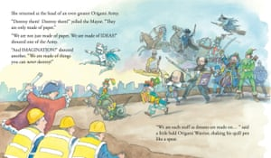 Protest in The Little Bookshop And The Origami Army by Michael Foreman