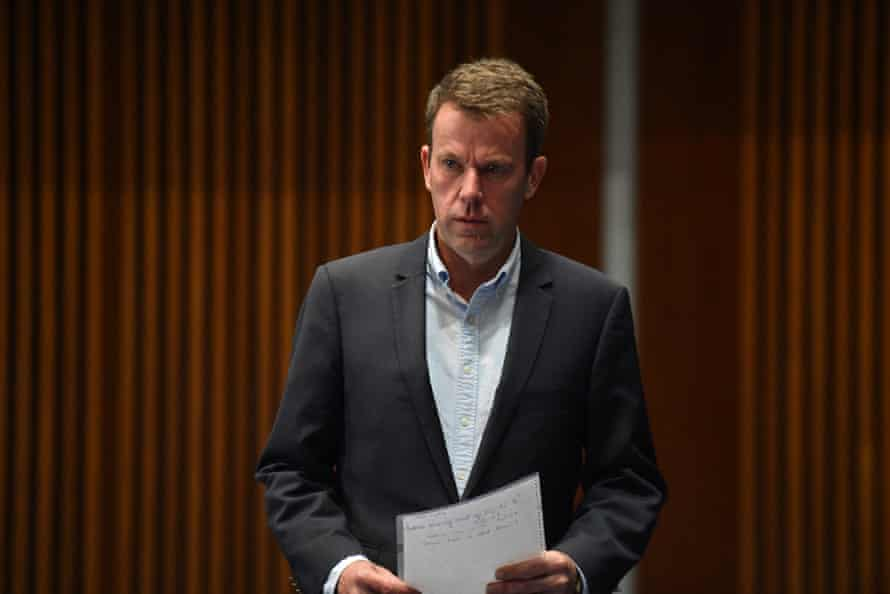 Minister for Education Dan Tehan arrives at a press conference at Parliament House in Canberra, Sunday, April 12, 2020.