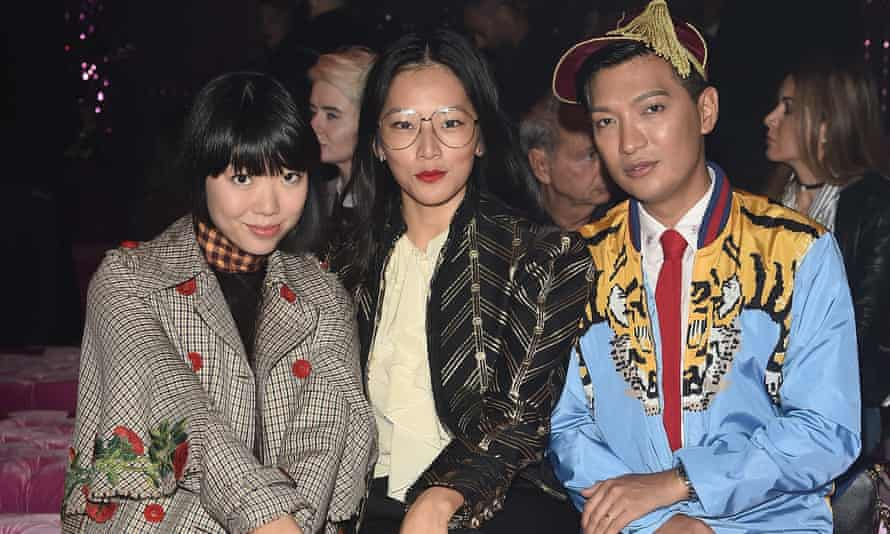 Style bloggers Susie Lau, Tina Leung and Bryan Boy at Gucci's Milan fashion week show.