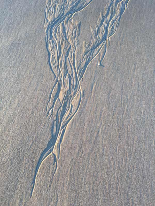 Tide lines on an empty stretch of Kangaroo Island beach