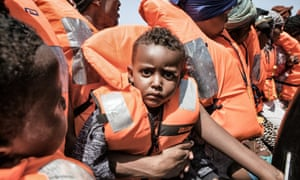 People rescued by the ship Aquarius in the Mediterranean.