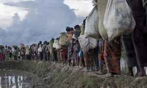 The mass exodus of Rohingya refugees from Myanmar into Bangladesh in October 2017.