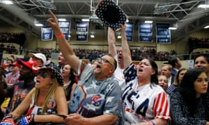Supporters cheer President Donald Trump during a rally in Indiana.
