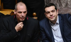 Former friends Yanis Varoufakis and Greek prime minister Alexis Tsipras in February 2015
