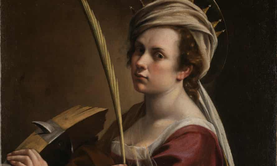 Detail from Self Portrait as Saint Catherine of Alexandria by Artemisia Gentileschi, c1615-17.