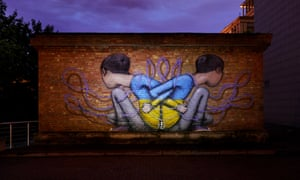 A mural by French artist Seth Globepainter sits on a quiet street near Independence Square, where protesters congregated during the long winter months of 2013-2014. The uprising led to pro-Russian president, Viktor Yanukovych, being ousted and war breaking out in eastern Ukraine