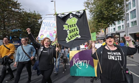 Protesters during the March for Choice demonstration