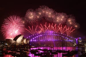 Midnight fireworks display from Mrs Macquarie's Chair