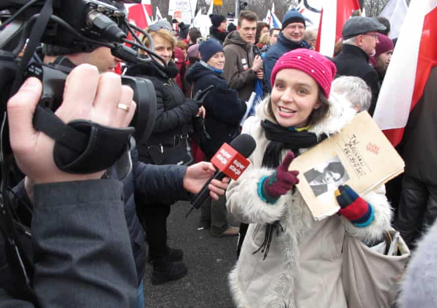 To poke fun at the autorities, one marcher carried what she jokingly referred to as a secret communist era file she had found on Jaroslaw Kaczynski, the leader of the Law & Justice party.