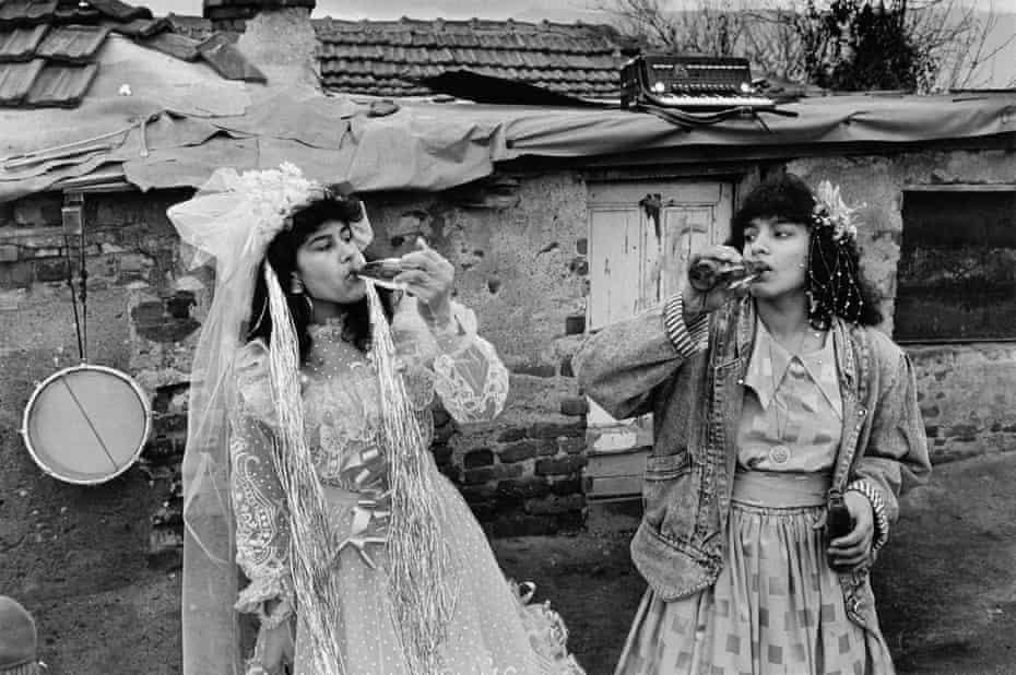 The bride and bridesmaid at a wedding in Fakulteta, a Gypsy district of Sofia, Bulgaria, 1991