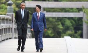 Obama and Shinzo Abe at the shrine.
