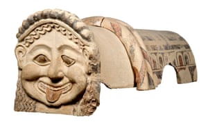 Gorgon antefix terracotta roof ornament with head of a gorgon, Gela, Sicily, circa 500BC.