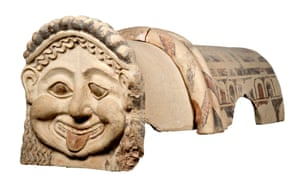 A terracotta roof ornament with the head of a Gorgon