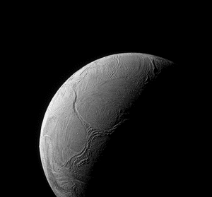 "15 February 2016 A sinuous feature snakes northward from Enceladus' south pole like a giant tentacle. This feature, which stretches from the terminator near centre of the moon, toward upper left, is actually tectonic in nature, created by stresses in Enceladus' icy shell. Geologists call features like these, which are 313 miles or 504 kilometers across, ""Y-shaped discontinuities."" Such features are also believed to be relatively young based on their lack of impact craters – a reminder of how surprisingly geologically active Enceladus is"