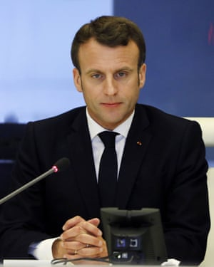 French President Emmanuel Macron presides over an emergency crisis meeting.