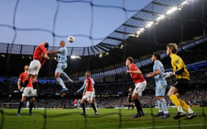 30 April 2012: Kompany scores the winning goal in the Manchester derby at the Etihad Stadium. The goal puts City in first place ahead of Manchester United on goal difference with only two games of the season remaining.