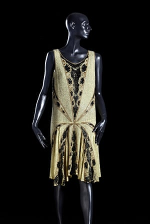 A sequinned and beaded flapper dress