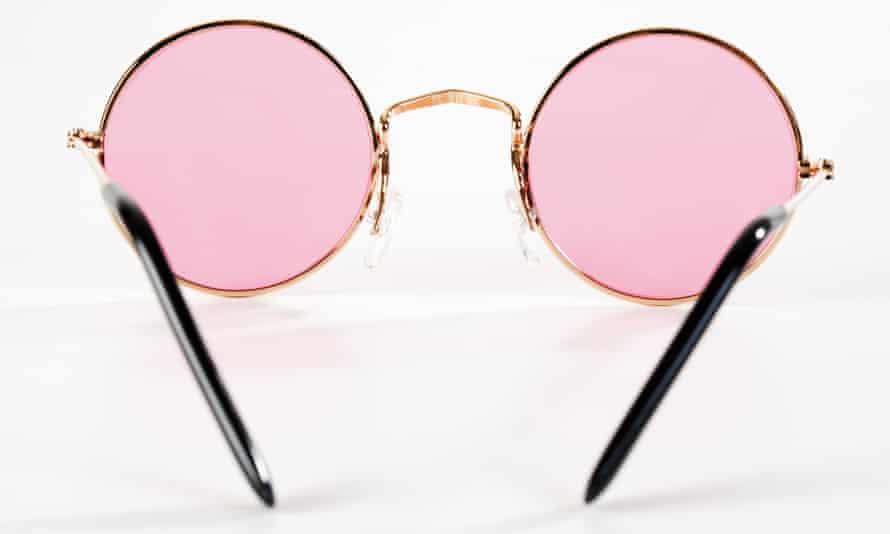 Pink metal-rimmed sunglasses