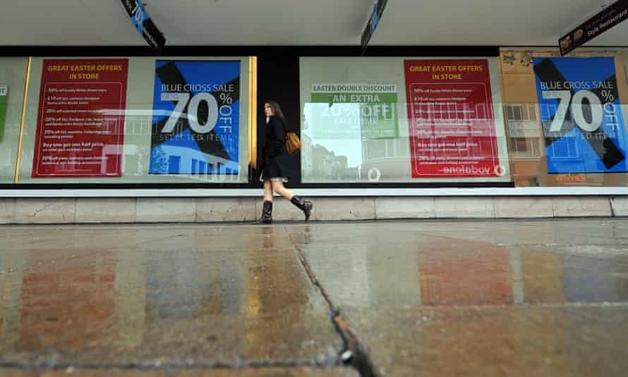 A lone shopper on Oxford Street in London