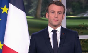 Emmanuel Macron delivers his new year address during a televised address to the nation from the Elysee Palace in Paris