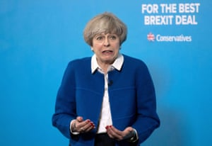 Theresa May speaks during a general election campaign visit to Wolverhampton.