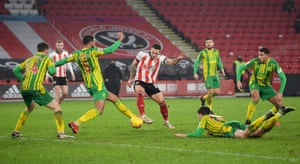 Sheffield United's Billy Sharp scores their second goal.