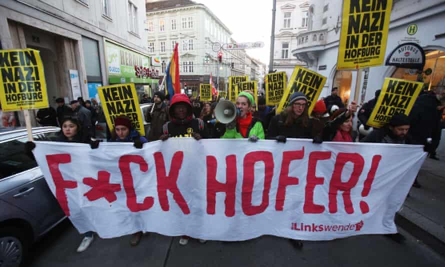Demonstrators protest against Norbert Hofer