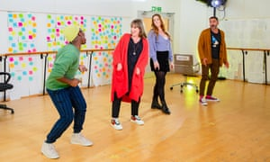 Tyrone Huntley, Jenna Russell, Lucie Jones and Marc Elliot in [Title of Show].