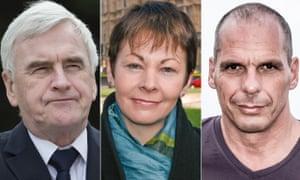 John McDonnell, Caroline Lucas and Yanis Varoufakis