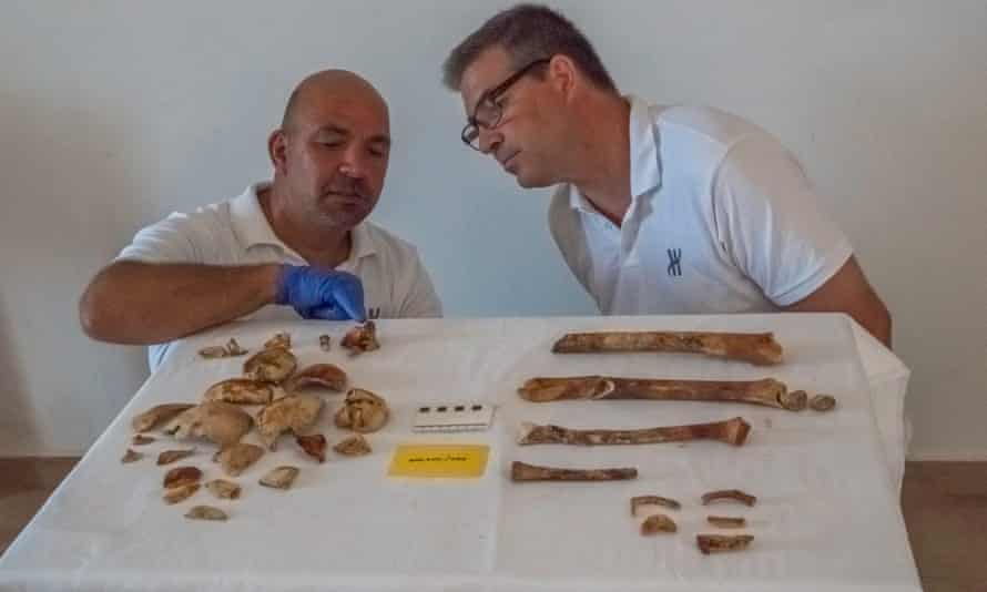 Theotokis Theodoulou and Brendan Foley examine some of the bones, which are discoloured a dark reddish-brown, possibly through age, or perhaps from the uptake of iron leached from nearby artefacts.