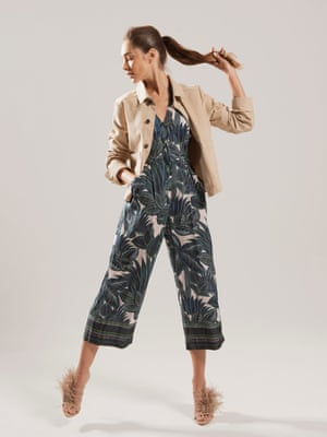 model wears  jumpsuit, £170, whistles.com. Jacket, £56, by BDG, from urbanoutfitters.com. Sandals, £69.99, zara.com.