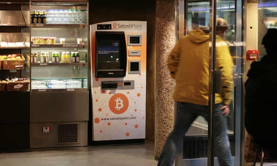 A bitcoin machine at a cafe near Old Street, London.
