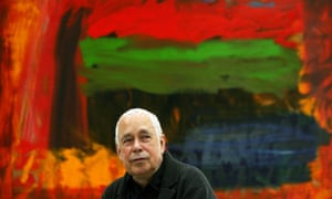 Howard Hodgkin in front of Home, Home on the Range at the opening of his exhibition at the Gagosian Gallery in London in 2008.
