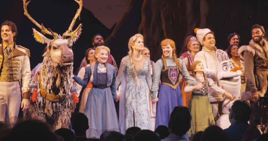 The cast of Frozen at the end of the first night on Broadway.