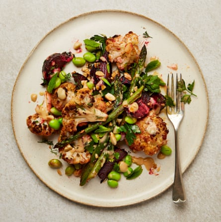 Meera Sodha's cauliflower, beetroot and asparagus salad
